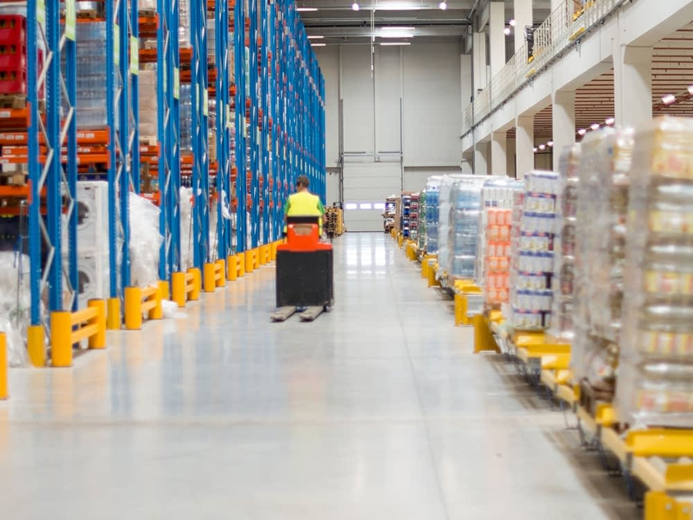 Large pallet racking and loading bay