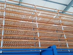 Close up of pallet racks with wooden decking