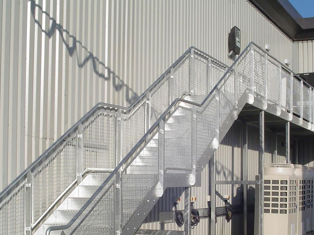 steel and mesh industrial staircase