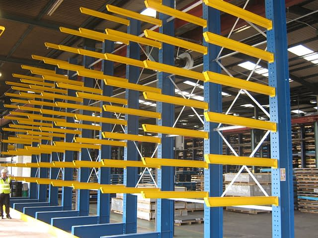 yellow and blue cantilevered shelving