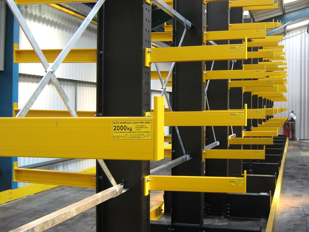 fixed end stops for cantilever racking