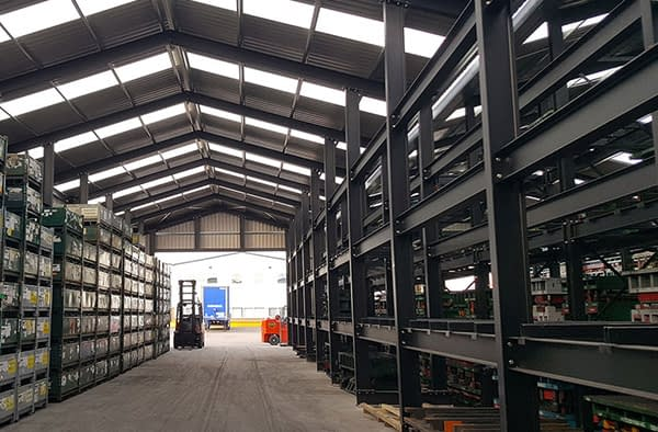 grey canopied racking in warehouse