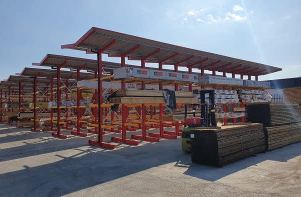 Kirkstall canopied cantilever racking storage in yard