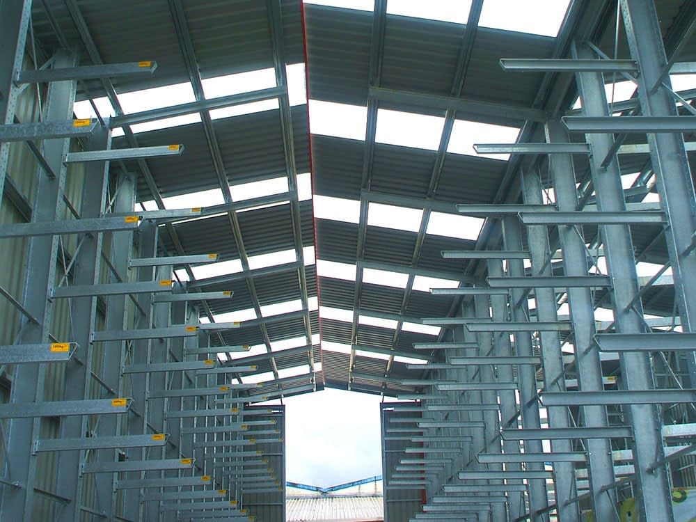 pop up warehouse with cantilever shelving