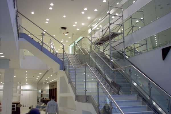 Retail handrail and balustrade for mezzanine floor stairs