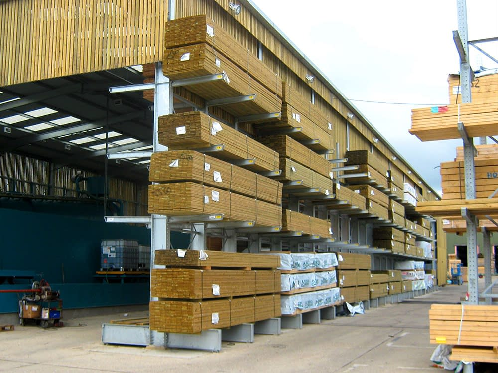 semi permanent cantilever warehouse racking and timber storage