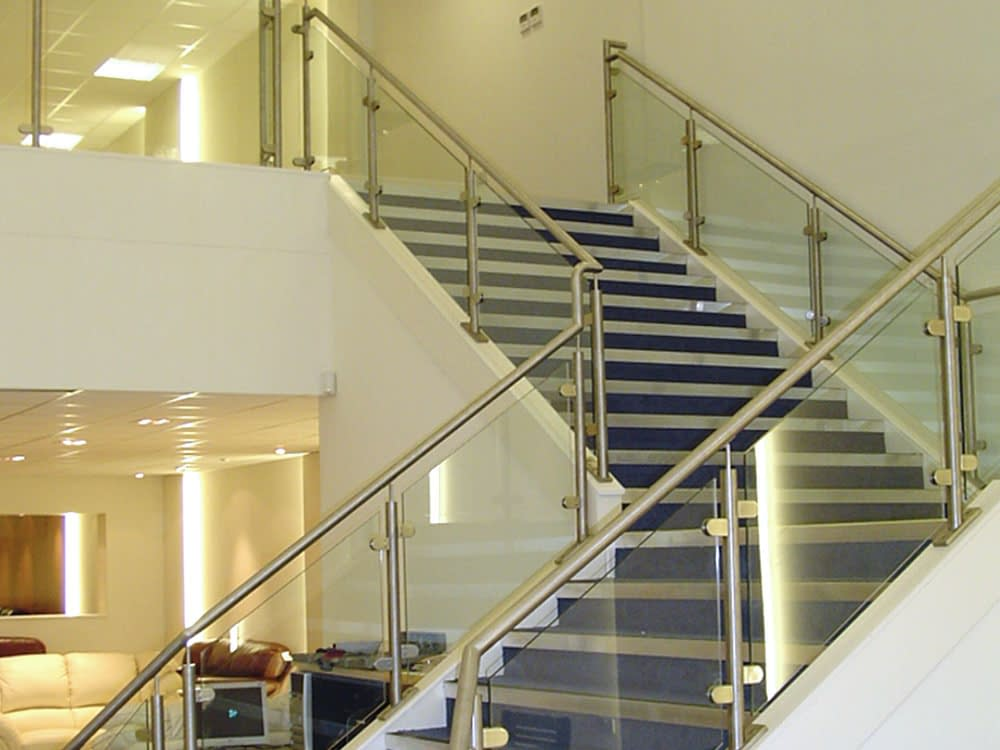 steel and glass office staircase