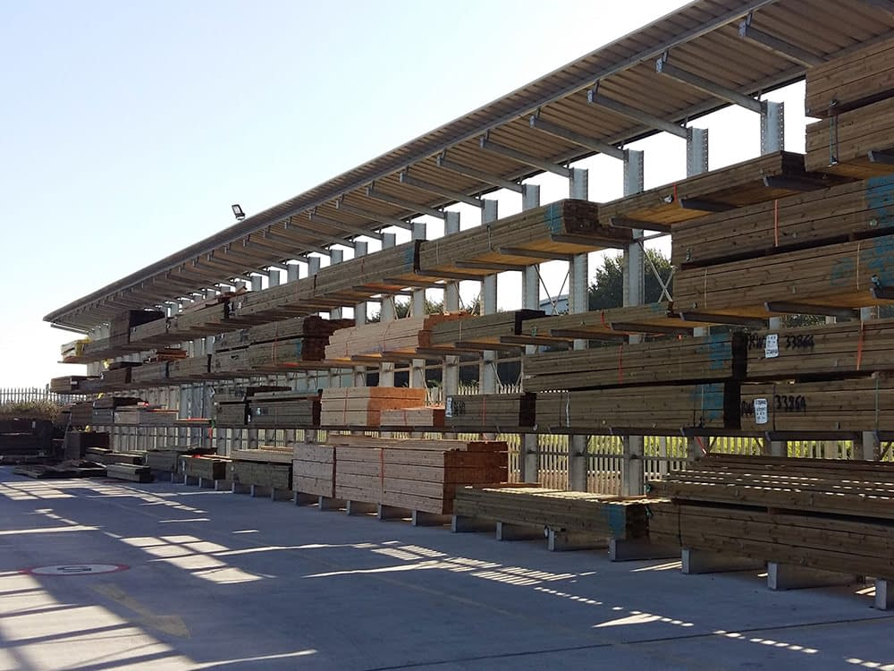 outdoor timber cantilever racking