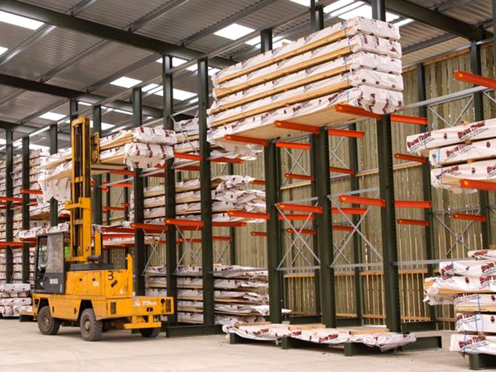 warehouse cantilever racking with truck